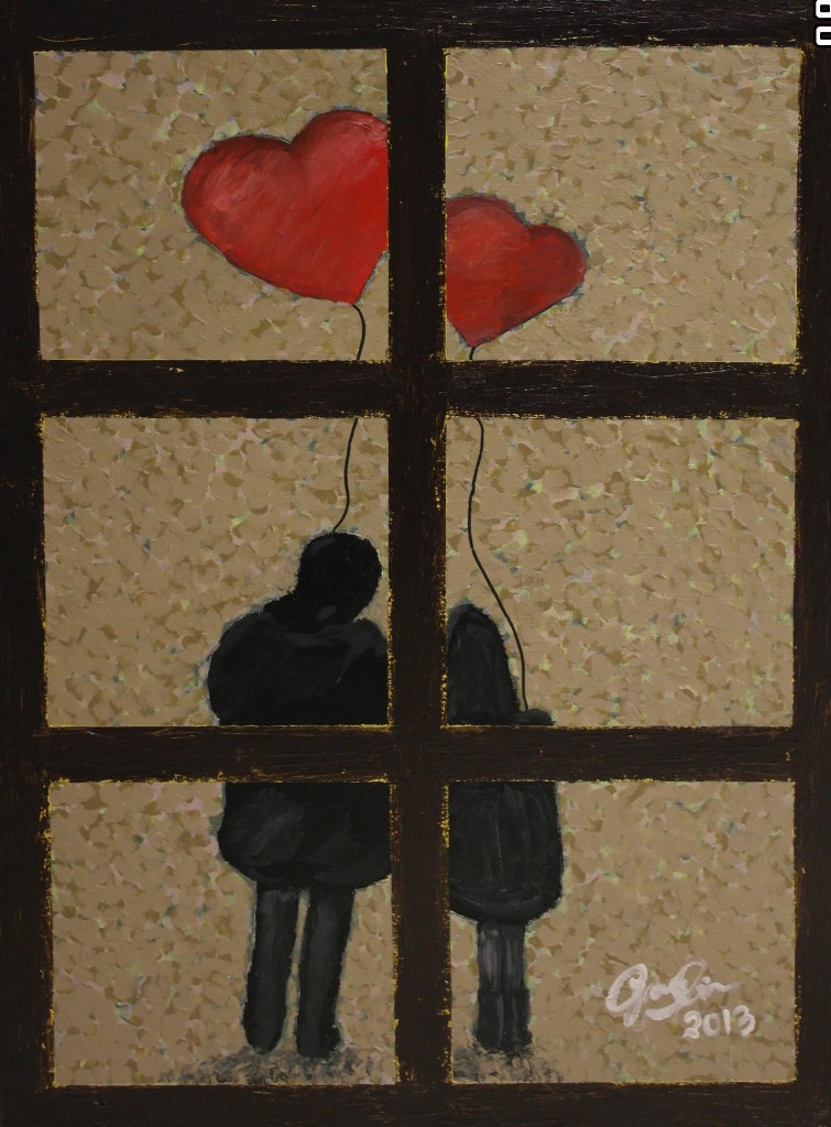 "'LOVE 2/3', 17.7 x 23.5"", Acrylic on Canvas, 2013"