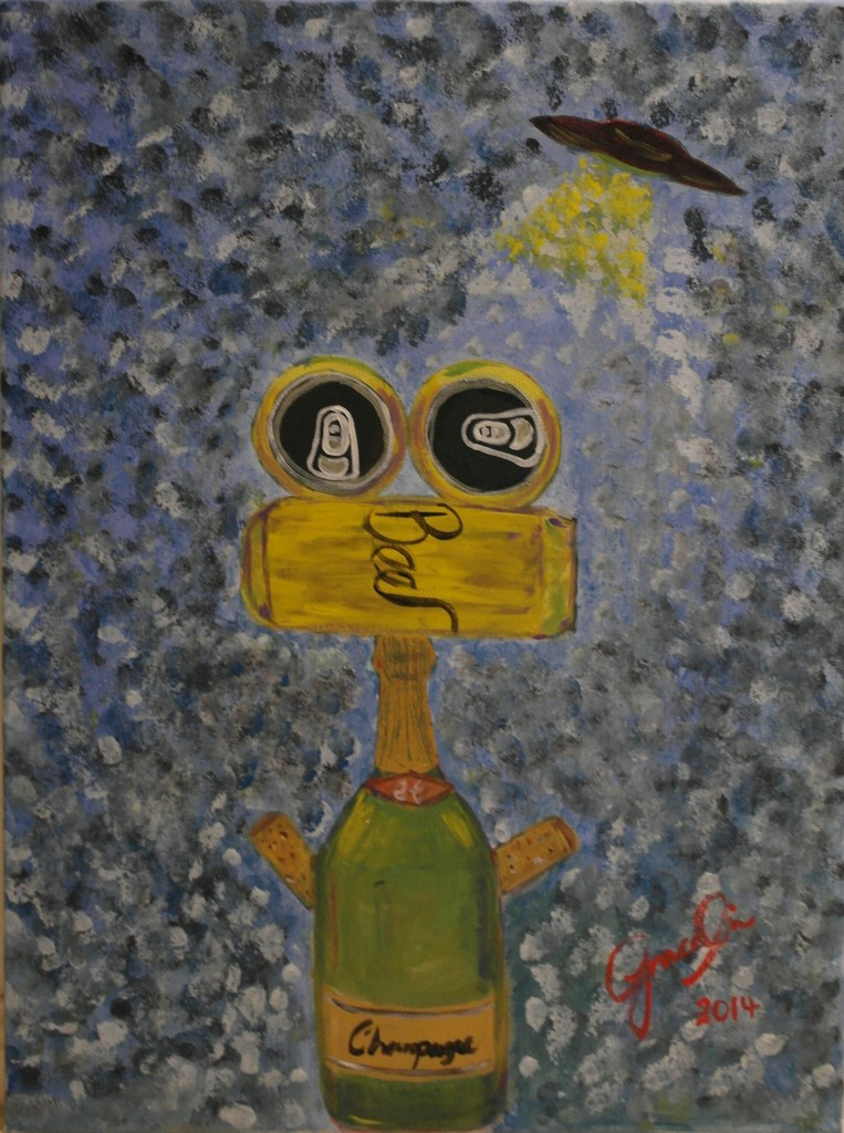 "'Happy hour robot - ET', 17.5 x 23.5"", Acrylic on Canvas, 2014"