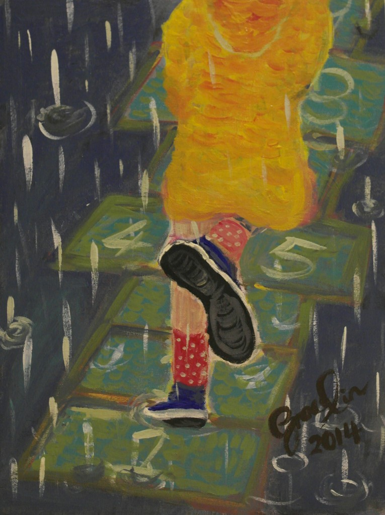 "'Hopscotch in the rain', 12 x 15.7"", Acrylic on board, 2014 (NFS)"