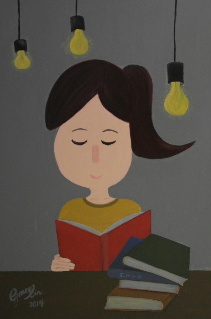 "'Book & Me' , 20 x 30"", Acrylic on Canvas, 2014"
