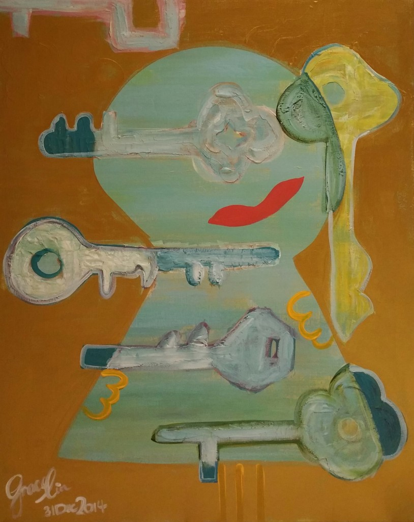 "'Keys', 24 x 30"", Acrylic on Canvas, 2014 (NFS)"